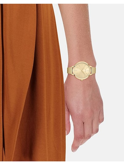 BOSS Casual Analog Watch in Gold / White: Frontal view