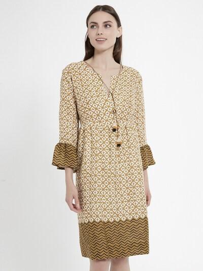 Ana Alcazar Kleid 'Capia' in ocker / schwarz / weiß, Modelansicht