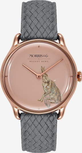 August Berg Analoog horloge 'MORRIS & CO Rose Gold Grey Perlon 30mm' in de kleur Pink, Productweergave