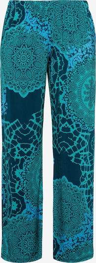 Ulla Popken Hose in blau / jade / dunkelgrün, Produktansicht