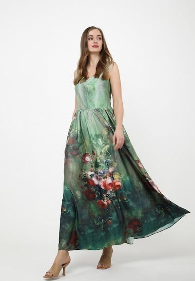 Madam-T Maxikleid 'DANAY' in grün / oliv / pink, Modelansicht