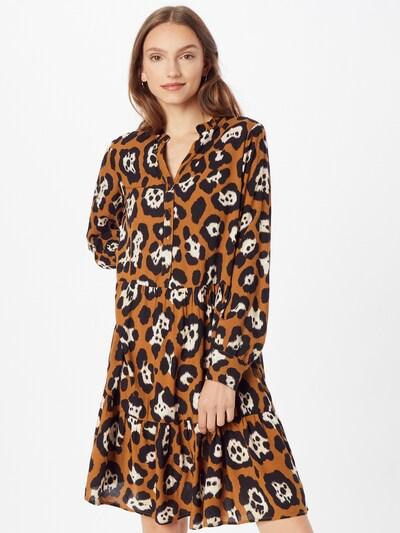 Soyaconcept Kleid 'RAJA' in braun / kastanienbraun / weiß, Modelansicht