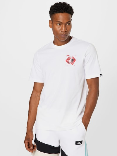 ADIDAS PERFORMANCE Функционална тениска в рубинено червено / черно / бяло: Изглед отпред