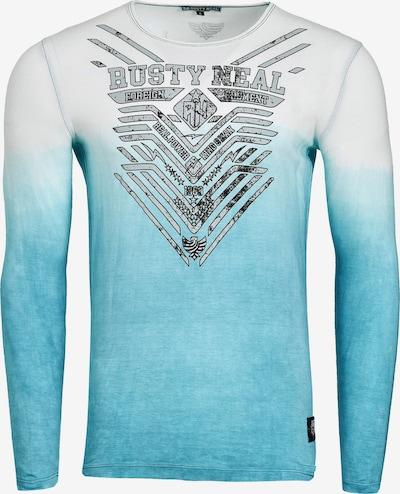 Rusty Neal Longsleeve mit großem Front- Print in himmelblau / weiß: Frontalansicht