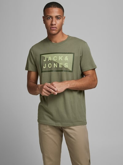 JACK & JONES Тениска в маслина / ябълка, Преглед на модела