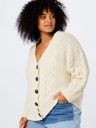 Cotton On Curve Strickjacke 'CHENILLE' in beige, Modelansicht