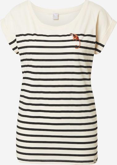 Iriedaily T-Shirt in rostbraun / schwarz / wollweiß, Produktansicht