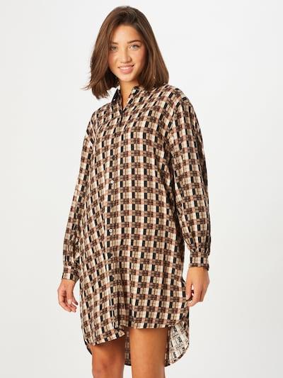OBJECT Blousejurk 'Pamala' in de kleur Beige / Bruin / Donkerbruin / Zwart, Modelweergave