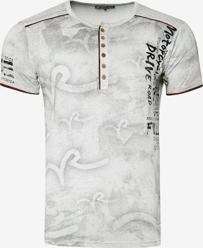 Rusty Neal T-Shirt mit lässigem Allover-Print in grau: Frontalansicht