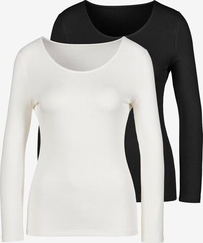 LASCANA Langarmshirt in schwarz / weiß, Produktansicht