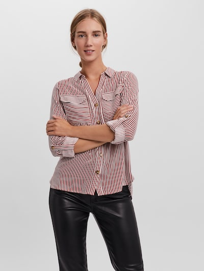 VERO MODA Blouse 'Bumpy' in de kleur Rood / Wit, Modelweergave