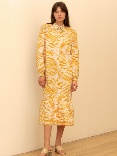 Rochie tip bluză 'Cecilie' Aligne pe galben auriu / alb natural, Vizualizare model