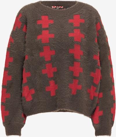 myMo ROCKS Pullover in schoko / rot, Produktansicht