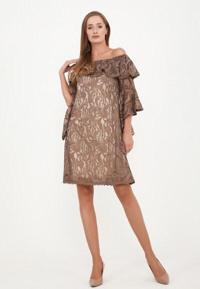 Madam-T Kleid 'Sally' in braun / hellbraun, Modelansicht