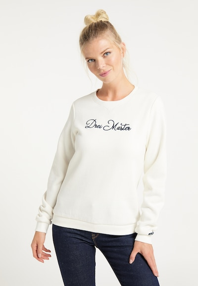 DreiMaster Maritim Sweat-shirt en noir / blanc naturel: Vue de face