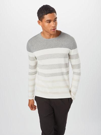 Only & Sons Pullover 'Don' in beige / graumeliert / weiß: Frontalansicht