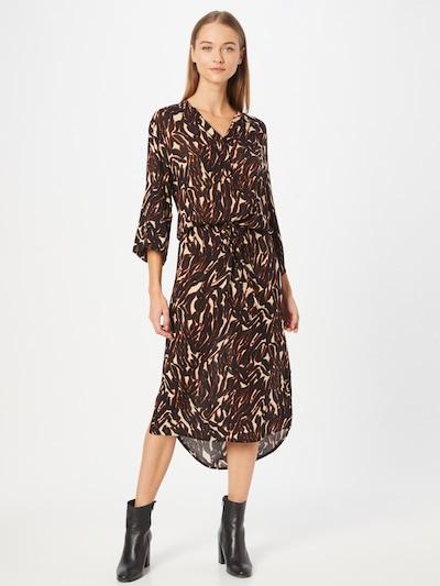 SOAKED IN LUXURY Blousejurk 'Zaya' in de kleur Beige / Roestbruin / Zwart, Modelweergave