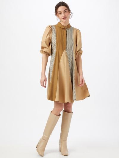 mbym Blousejurk 'Evolette' in de kleur Lichtbeige / Lichtbruin / Rookgrijs / Wit, Modelweergave