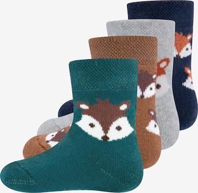 EWERS Socken 'Fuchs' in navy / karamell / graumeliert / smaragd / weiß, Produktansicht