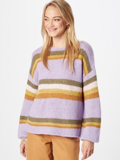 NÜMPH Pullover 'CHARON' in khaki / lavendel / orange / dunkelorange / weiß, Modelansicht