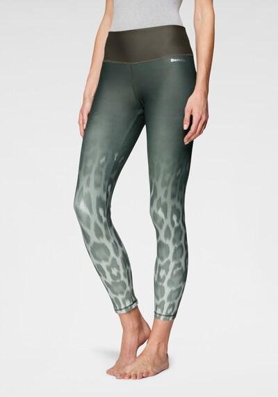 BENCH Sporthose in beige / dunkelgrau / grün: Frontalansicht