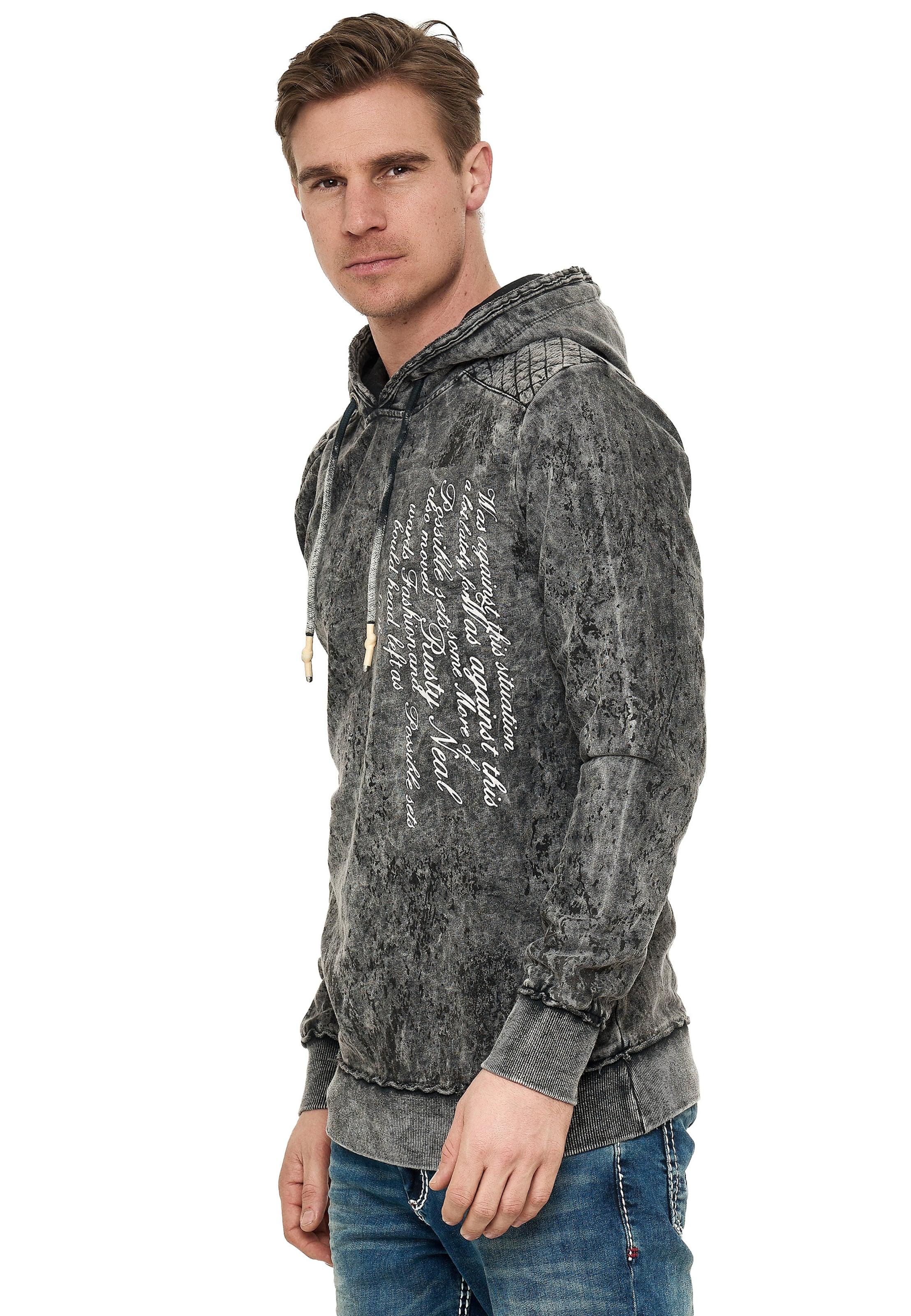 Rusty Neal Sweatshirt in verwaschenem Look mit Schriftzug in anthrazit Baumwolle 3374005