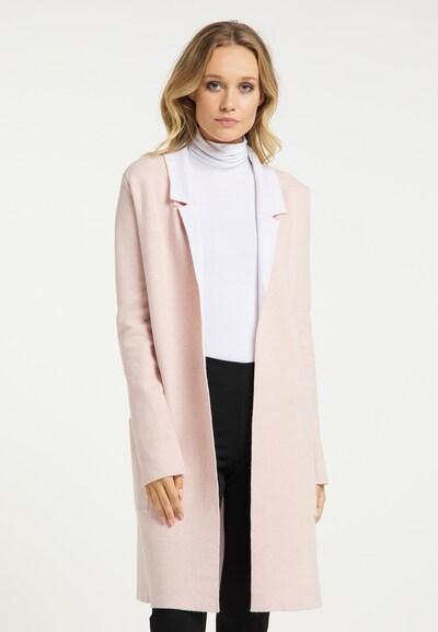 DreiMaster Klassik Strickmantel in pink / weiß, Modelansicht
