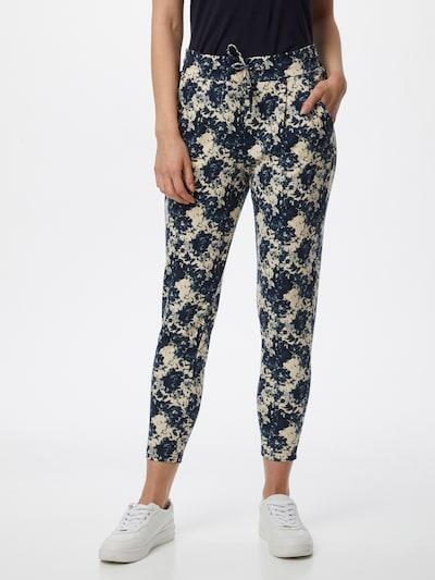 Pantaloni con pieghe ICHI di colore beige / blu scuro, Visualizzazione modelli
