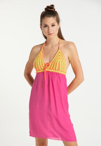MYMO Kleid in hellgrün / orange / neonpink, Modelansicht
