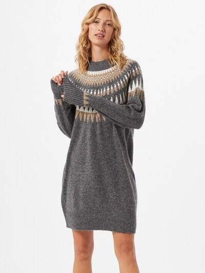 Rochie tricotat 'FQBERLA' Freequent pe maro deschis / gri închis / alb, Vizualizare model
