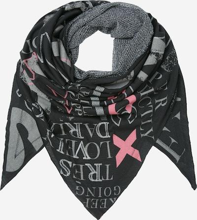 Soccx Triangle-Tuch im Materialmix mit Print in schwarz, Produktansicht