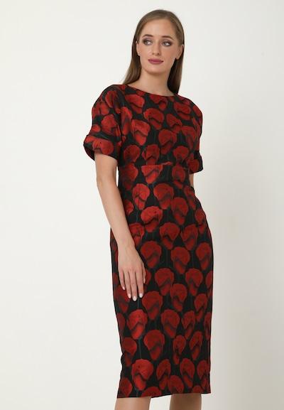 Madam-T Kleid 'ALTEA' in rot / schwarz: Frontalansicht
