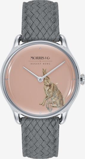 August Berg Uhr 'MORRIS & CO Silver Grey Perlon 30mm' in grau / pink, Produktansicht