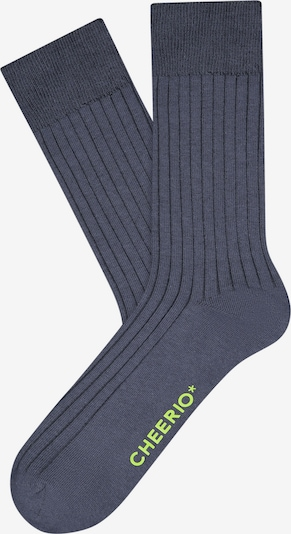 CHEERIO* Socken 'TOUGH GUY' in marine / neongrün, Produktansicht