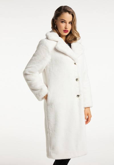 faina Wintermantel in wollweiß, Modelansicht