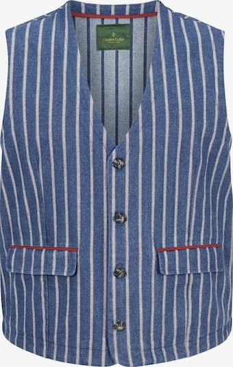Charles Colby Gilet 'Duke Firth' in de kleur Duifblauw / Rood / Wit, Productweergave