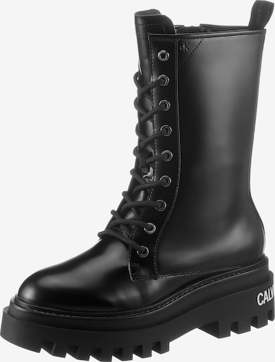 Calvin Klein Lace-Up Ankle Boots in Black / White, Item view