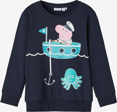 Bluză de molton 'PEPPAPIG' NAME IT pe bleumarin / turcoaz / roz, Vizualizare produs