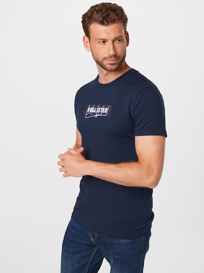 HOLLISTER Тениска в нейви синьо / пастелно червено / бяло: Изглед отпред