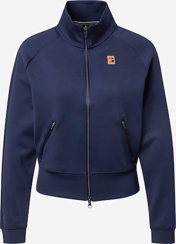 NIKE Athletic Zip-Up Hoodie in Blue