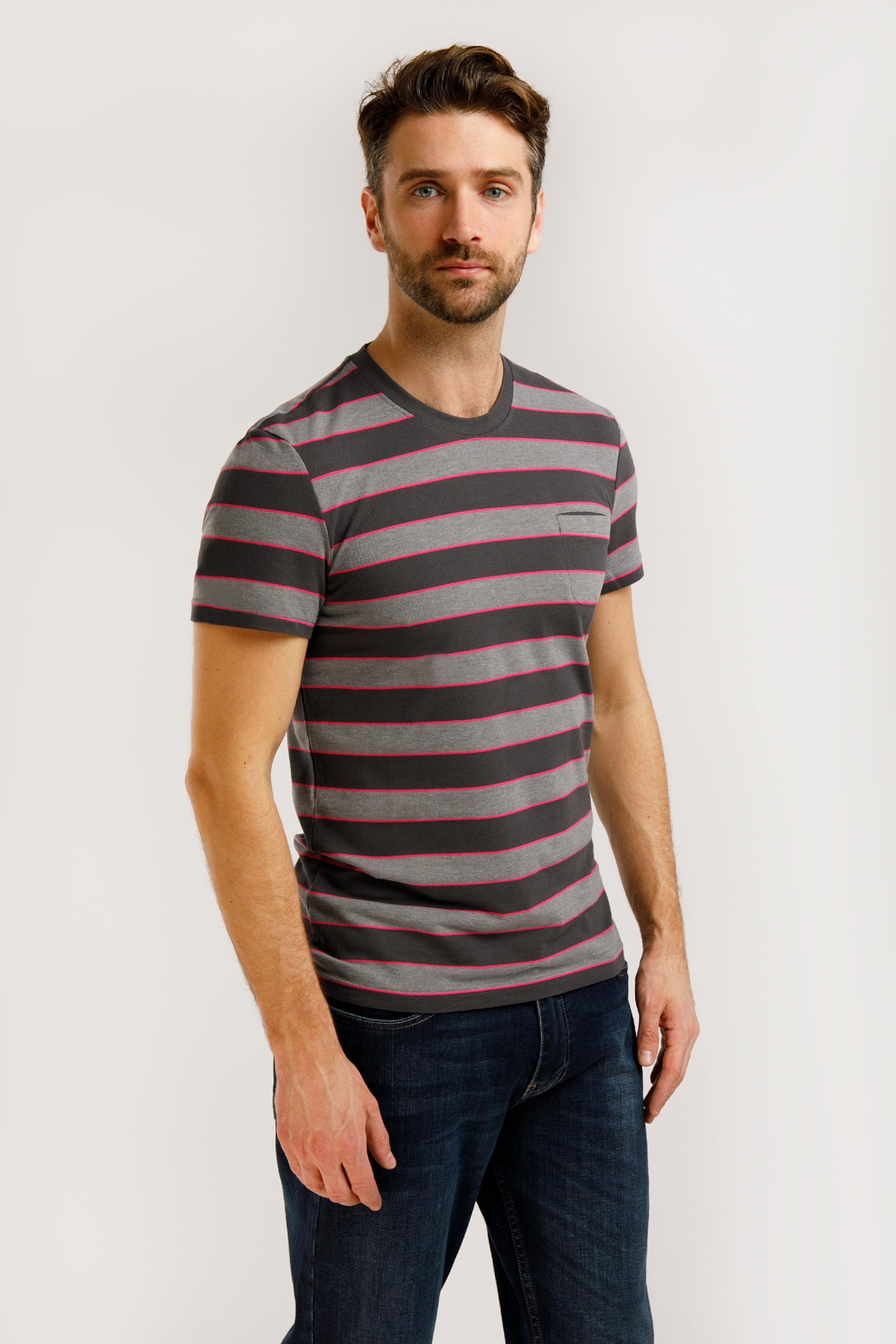 Finn Flare T-Shirt in basaltgrau / magenta / schwarz Jersey 3118584