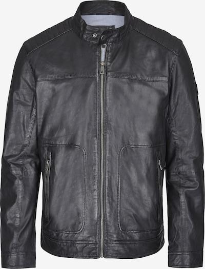 bugatti Lederjacke mit Riegeln und Stehkragen in schwarz, Produktansicht