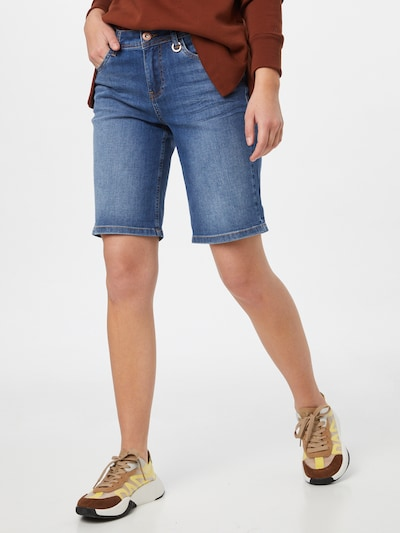PULZ Jeans Shorts 'EMMA' in blue denim, Modelansicht