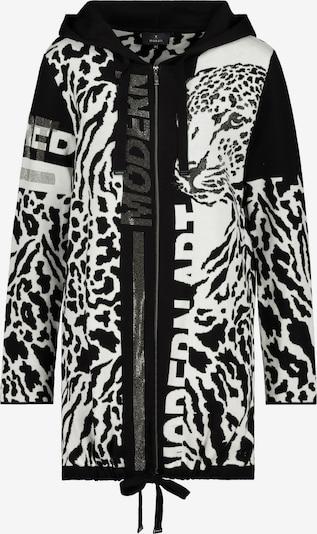 Geacă tricotată monari pe negru / alb, Vizualizare produs