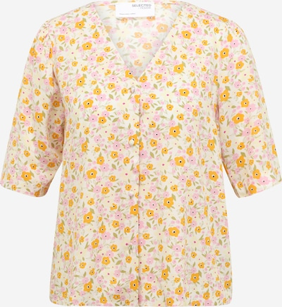Selected Femme Petite Bluse 'MILLY' in creme / limone / hellgelb / hellpink, Produktansicht