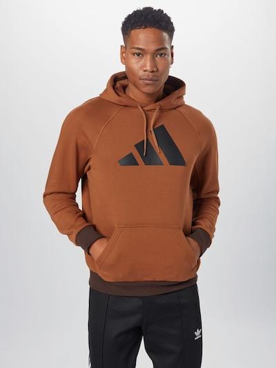 ADIDAS PERFORMANCE Športna majica | rjava / temno rjava / temno siva barva: Frontalni pogled
