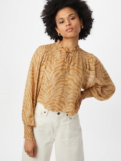 MOS MOSH Bluse 'Eisa ' in ocker / hellbraun / weiß, Modelansicht