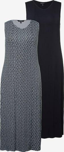 Ulla Popken Jerseykleid in schwarz / weiß: Frontalansicht