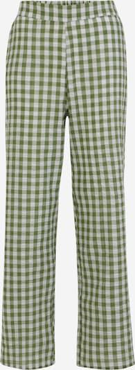 Pieces Petite Broek 'PIRA' in de kleur Groen / Wit, Productweergave