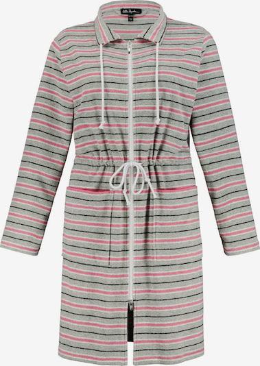 Ulla Popken Bademantel in grau / pink / schwarz / weiß, Produktansicht